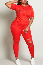 Red Fashion adult Ma'am Street hooded Solid Burn-out Two Piece Suits Stitching Plus Size
