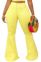Yellow Polyester Zipper Fly Low Solid Zippered Loose Pants Bottoms