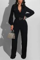 Black Casual Polyester Solid Pocket V Neck Jumpsuits