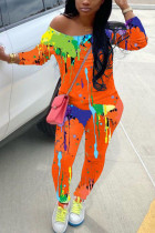 Orange Fashion Casual Adult Polyester Print Graffiti Oblique Collar Skinny Jumpsuits
