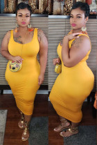 Yellow Sexy O Neck Solid Plus Size