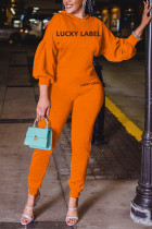 Orange Fashion Casual Letter Print Basic Hooded Collar Long Sleeve Two Pieces