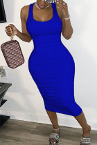 Blue Polyester Sexy Europe and America O Neck Solid Plus Size