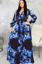 Black Chiffon Sexy Shirt sleeves Long Sleeves V Neck Swagger Floor-Length Print Patchwork Long Sleeve Dre