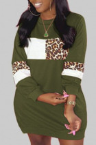 Army Green Casual Print Leopard Split Joint O Neck Straight Plus Size