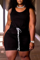 Black Fashion Casual Solid Basic U Neck Plus Size Two Pieces