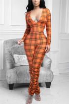 Orange Sexy Casual Plaid Print Fold V Neck Skinny Jumpsuits