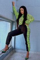 Fluorescent green Polyester adult Sexy Fashion Print asymmetrical Patchwork Two Piece Suits Striped pencil Long Sleeve