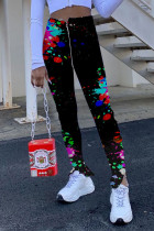 Red Polyester Zipper Fly High Print pencil Pants Bottoms