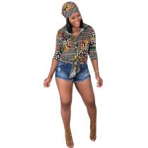 Multi-color Turndown Collar Long Sleeve Print Blouses & Shirts