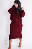 Maroon Polyester Sexy Solid Two Piece Suits pencil Long Sleeve