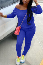 Blue Milk Silk Fashion Active adult Ma'am Solid Two Piece Suits Straight Long Sleeve Two Pieces