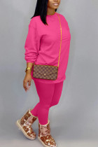 rose red Fashion Daily Adult Polyester Solid Split Joint O Neck Long Sleeve Regular Sleeve Regular Two Pieces