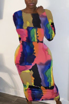 multicolor Fashion Milk Fiber Print Tie-dye O Neck Long Sleeve Ankle Length A Line Dresses