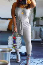 Light Gray Sexy Casual Solid Basic Spaghetti Strap Regular Jumpsuits