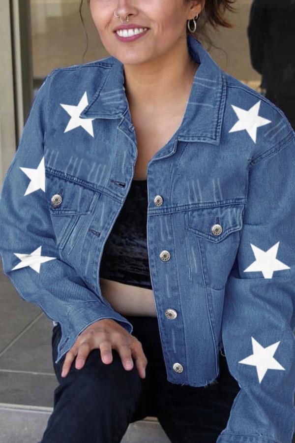 Dark Blue Street Print Turndown Collar Long Sleeve Skinny Denim