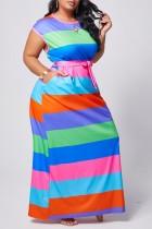 Green Polyester Fashion adult Ma'am Street O Neck Striped Stitching Plus Size