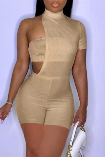 Khaki Fashion Sexy Solid Hollowed Out Turtleneck Short Sleeve Two Pieces