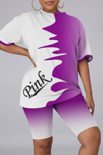 Purple Fashion Casual Letter Print Basic O Neck Short Sleeve Two Pieces
