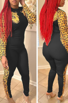 Black Street Leopard Split Joint O Neck Skinny Jumpsuits