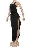 Black Sexy Solid Split Joint High Opening Spaghetti Strap Irregular Dress Dresses