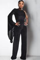 Black Light Solid zebra Chlorine Long Sleeve O Neck Jumpsuits