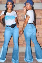 Light Blue Black Light Blue Dark Blue Polyester Zipper Fly Mid Patchwork Boot Cut Pants Bottoms