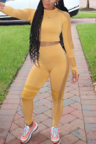 Yellow Sportswear Solid O Neck Long Sleeve Two Pieces