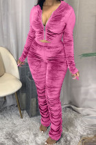 Pink Fashion Sexy Adult Pleuche Solid Fold Hooded Collar Long Sleeve Regular Sleeve Regular Two Pieces