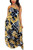Gold Sexy England Sleeveless Halter Neck Swagger Floor-Length Print bandage hollow out Dresses