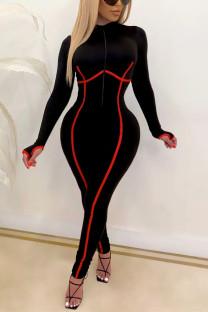 Black Fashion Casual Solid Split Joint Half A Turtleneck Skinny Jumpsuits