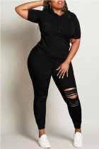Black Fashion adult Ma'am Street hooded Solid Burn-out Two Piece Suits Stitching Plus Size