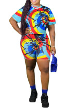 Multi-color Polyester Sweet O Neck Patchwork Print Tie Dye Stitching Plus Size