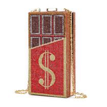 Red Fashion Casual Rhinestone Chain Crossbody Bag
