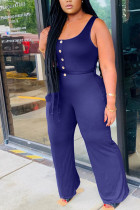Navy Blue Fashion Sexy Solid Sleeveless O Neck Jumpsuits
