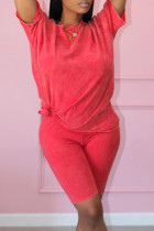 Watermelon Red Fashion Casual Solid Basic O Neck Short Sleeve Two Pieces