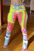 Multi-color Fashion Casual Print Skinny Mid Waist Trousers