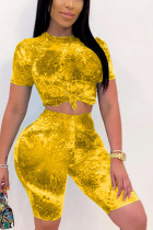 Yellow Polyester Fashion Casual adult Ma'am O Neck Print Two Piece Suits Stitching Plus Size