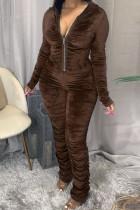 Coffee Fashion Casual Hooded Collar Long Sleeve Regular Sleeve Skinny Solid Jumpsuits