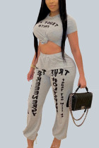 Grey Casual Polyester Letter Print Solid Split Joint O Neck Short Two Pieces