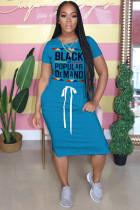 Blue Polyester Fashion adult OL Grey Blue Pink Orange Cap Sleeve Short Sleeves O neck Pencil Dress Knee-Length Print Patchwork Character bandage Dresses