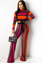 Red venetian OL Print Two Piece Suits Straight Long Sleeve Two-piece Pants Set