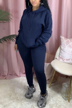Navy Blue Sexy Print Hooded Collar Long Sleeve Two Pieces