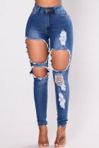 Dark Blue Fashion Sexy Solid Ripped High Waist Skinny Jeans