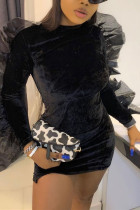 Black Fashion Sexy Patchwork Solid Split Joint O Neck Long Sleeve Dress Dresses