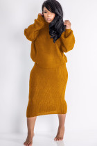 Orange Polyester Sexy Solid Two Piece Suits pencil Long Sleeve