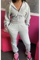 Grey Polyester Casual OL Solid pencil Long Sleeve Two Pieces