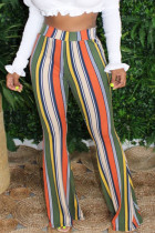 Olive green White Blue Pink Yellow Olive green Color blue Polyester Elastic Fly High Striped Loose Pants Bottoms