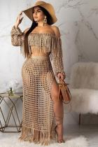 Khaki Polyester Sexy Fashion HOLLOWED OUT Two Piece Suits crop top Split Solid tassel asymmetrical Straigh