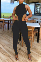 Black Sexy Casual Solid Slit Asymmetrical Turtleneck Sleeveless Two Pieces